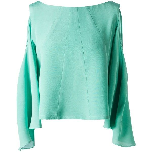 Leka - Mint Open Back & Shoulder Silk Blouse (£76) ❤ liked on Polyvore featuring tops, blouses, blue top, blue cold shoulder top, silk tie blouse, blue silk top and cold shoulder blouse