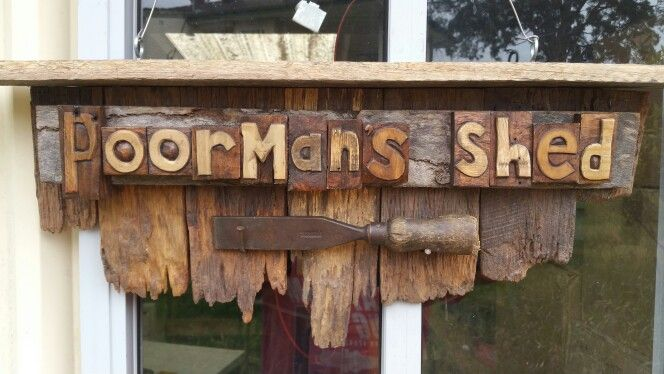 Old rustic logo for the new shed...made out of pallets and fence palings