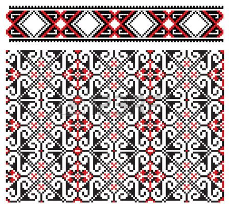 there is a scheme of ukrainian pattern for embroidery photo