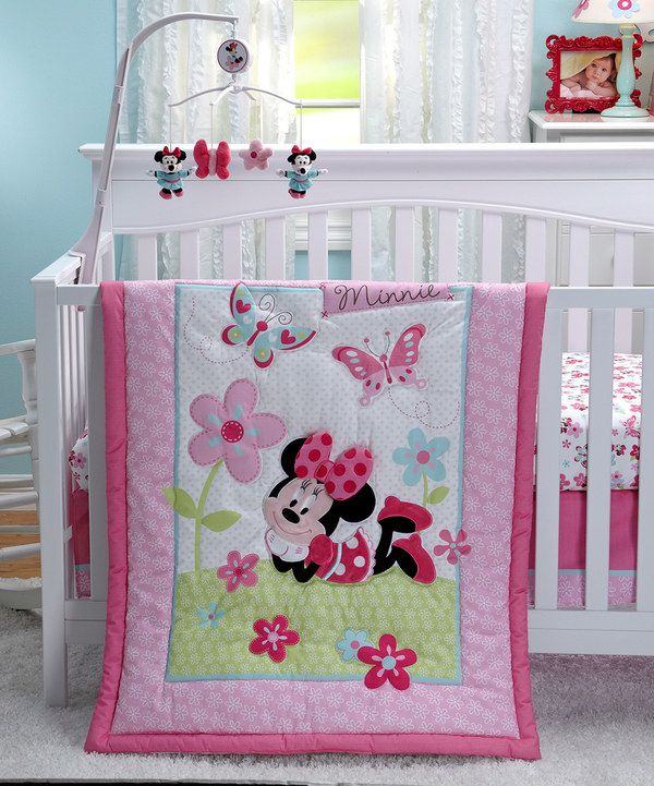 Look at this Minnie Mouse Three-Piece Crib Comforter Set on #zulily today!