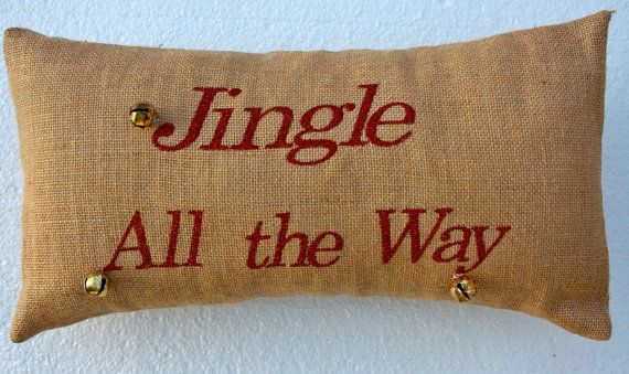 Christmas Burlap Pillows embroidered by peacefullysewn on Etsy