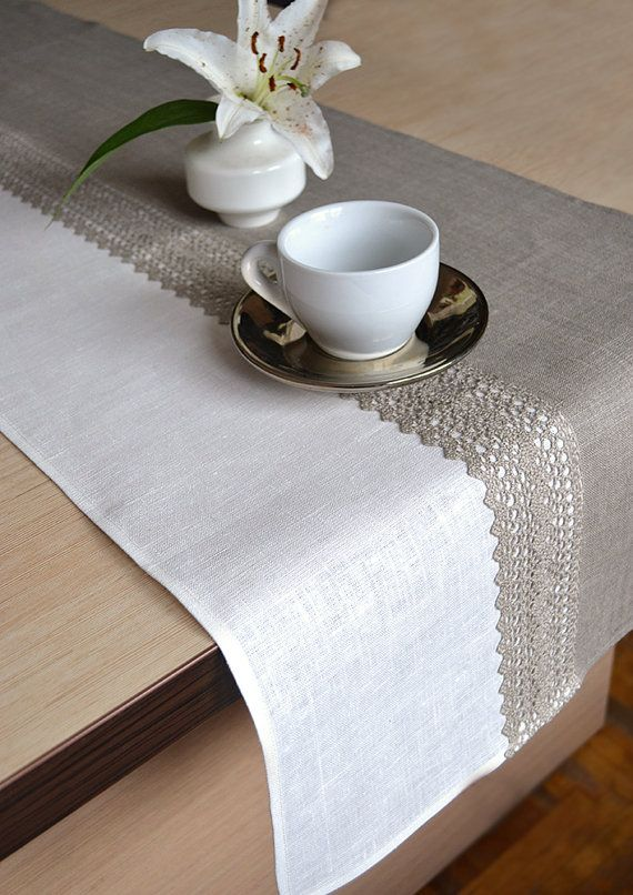 This linen table runner made from two colors linen - natural linen gray and white linen and on the center added the natural lace. Great for