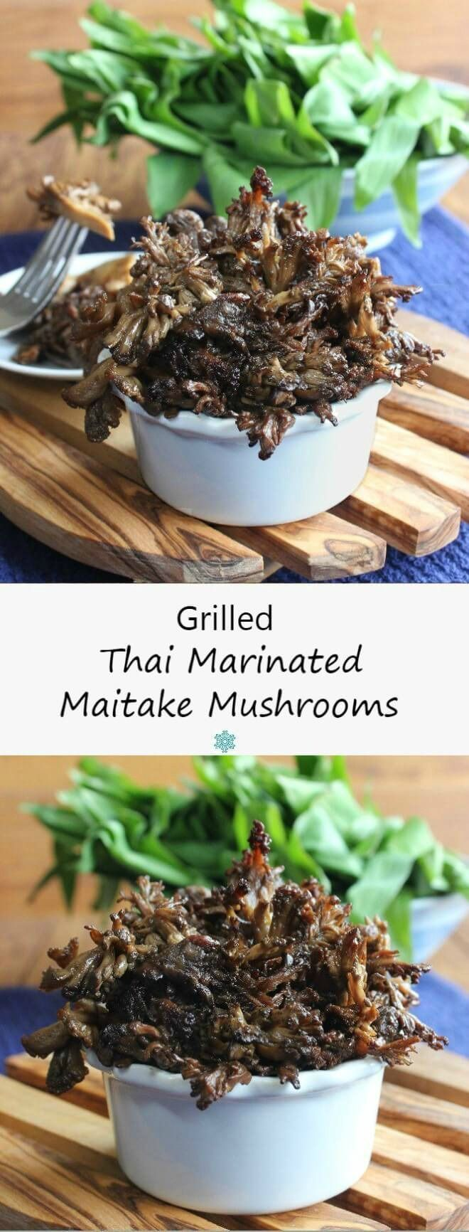 Thai Marinated Maitake Mushrooms are glistening with a flavorful Asian ...