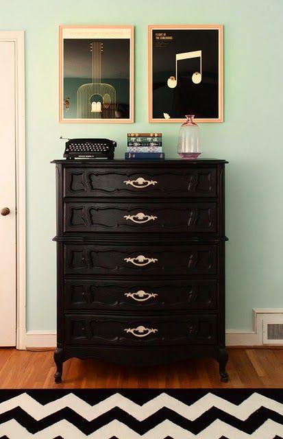 Love the black dresser against the robin's egg walls.: Wall Colors, Interior, Idea, Black Dressers, Furniture, Bedroom, Design, Chevron Rugs