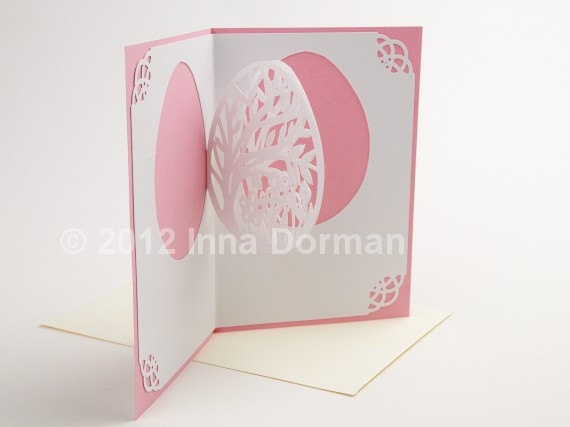 Pink Easter greeting card. Quilling, pop-up and paper cutting. Envelope included. OOAK. $16.00, via Etsy.