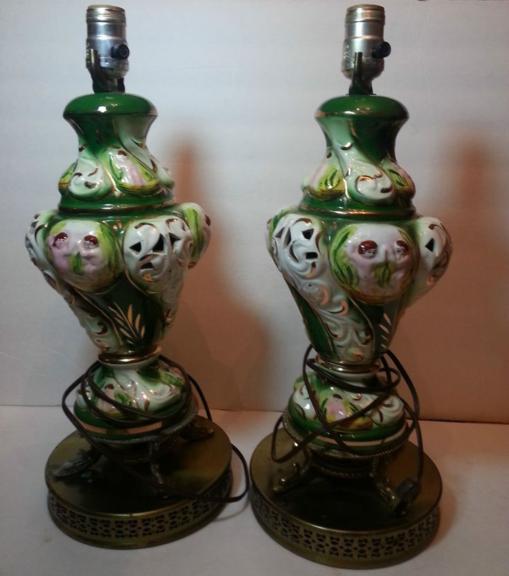 Vintage pair of adam an eve porcelain lamps Rare!!