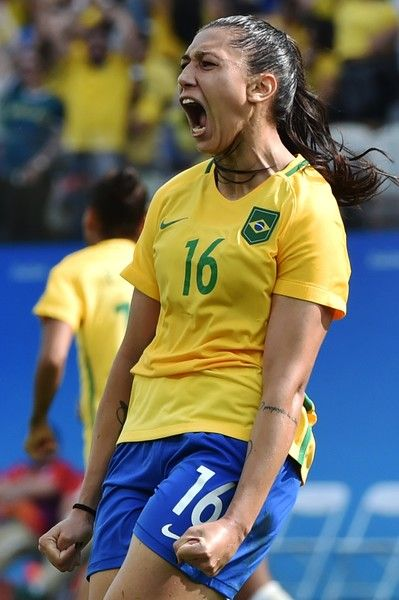 Beatriz  of Brazil celebrates her goal against Canada during the Rio 2016 Olympic Games women's bronze medal football match between Brazil vs Canada, at the Arena Corinthians Stadium in Sao Paulo, Brazil on August 19, 2016 / AFP / NELSON ALMEIDA