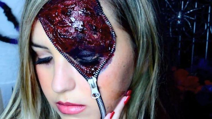 idée de maquillage Halloween femme - makeup effrayant et fermeture éclair