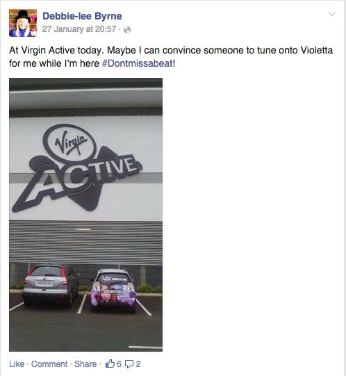 Debbie still thinking about Violetta while she's out at the gym #Dontmissabeat!