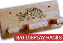 Baseball bat display racks and holders by Cooperstown Bat Company.