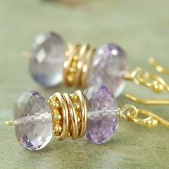Pretty faceted amethyst gemstone earrings (love yellows and purples together)