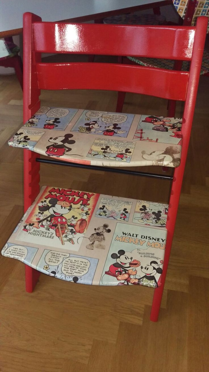 Stokke Tripp Trapp Hack (rot lackiert und mit Mickey Mouse