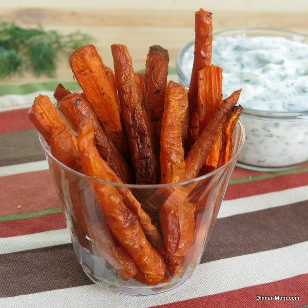 Spicy Carrot Fries and a Yogurt Dill Dipping Sauce - Very addictive. It's a good thing they are healthy.
