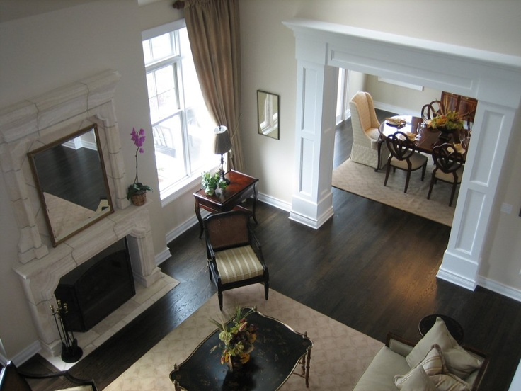 View From Model Home Catwalk Enjoyed Designing The Limestone Fireplace Surround And Incredible Mantle Header
