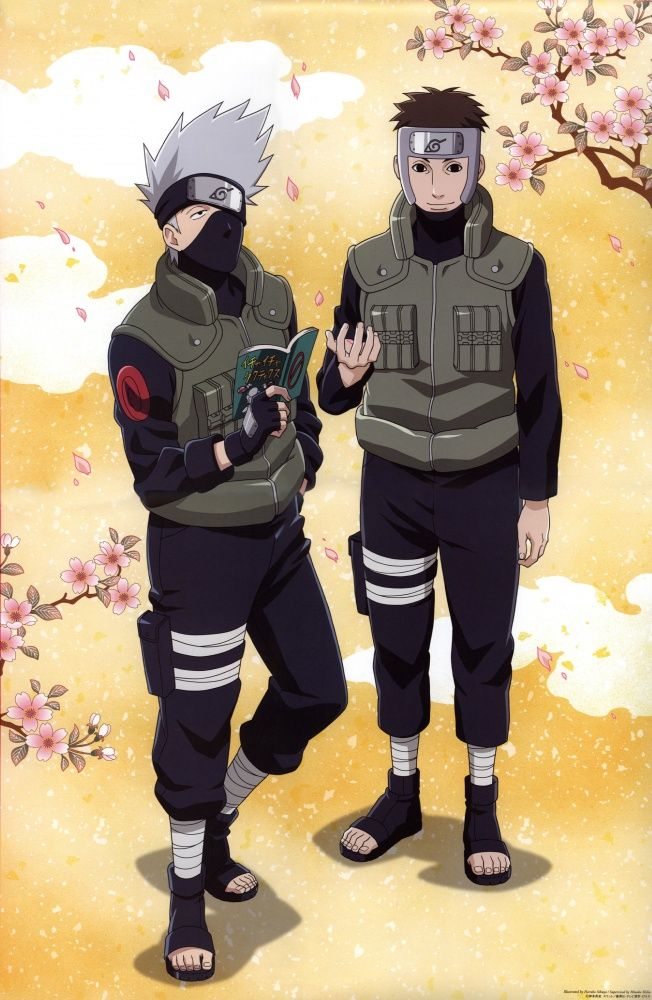Kakashi and Yamato surrounded by sakura blossom tree branches