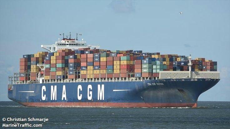 """Buque: """"CMA CGM GEMINI"""". Año de contrucción: 2011. Tipo: Portacontenedores. Propietario y Operador: CMA CGM - Marsella (Francia). Dimensiones: Eslora 363 m. Manga 45,6 m. Calado 8,5 m. Carga (DWT): 128.770 Tm. Capacidad máxima contenedores TEU: 11.388. Contenedores frigoríficos: 800. Motor: MAN-B&W - tipo: 12K98 MC Mk 7. Potencia: 72.240 Kw (98.052 HP). Velocidad máxima: 20 nudos. Distintivo: 2DDO9 . IMO: 9410791. Bandera: Reino Unida (UK)."""