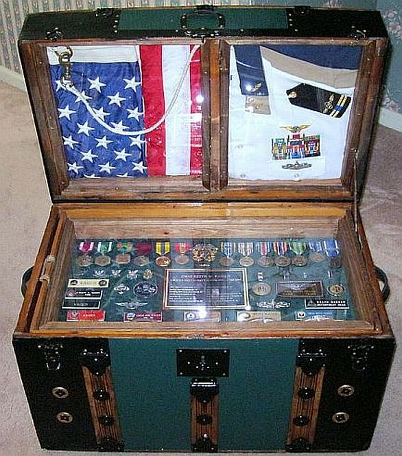 unique military or navy shadowbox idea or shadow box