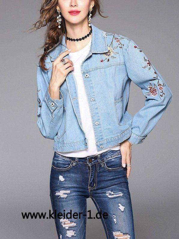 Damen Jeans Jacke in Hellblau mit Blumen Stick
