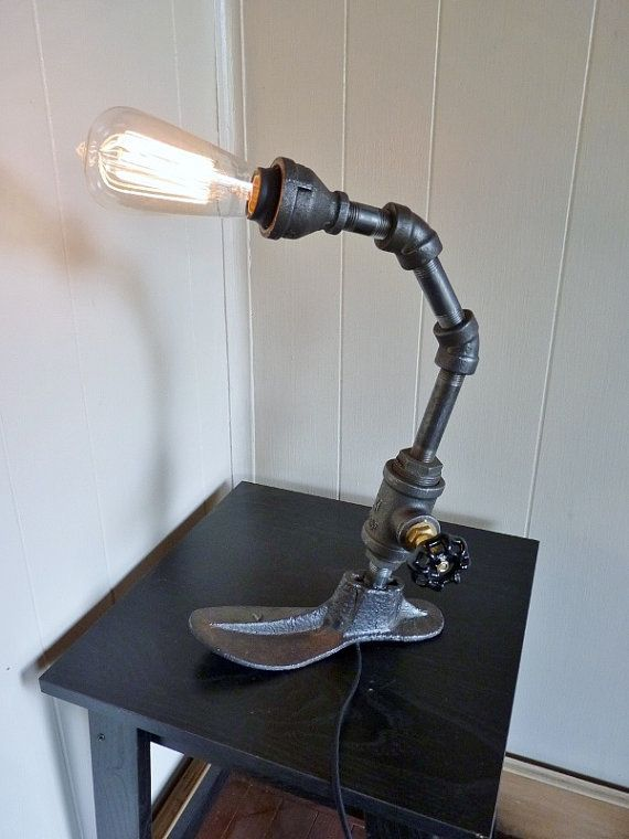 Black iron pipe lamp with antique shoe mold base and for Black iron pipe lights