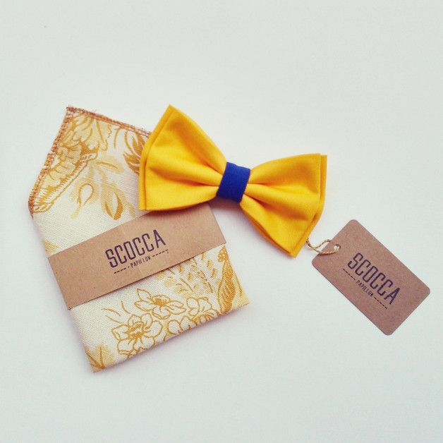 Bow Ties – Bow tie yellow blue and floral print pocket square- make your wedding outfit hipster yet elegant – a unique product by ScoccaPapillon via en.dawanda.com
