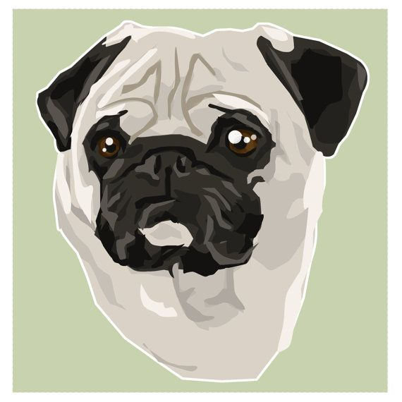Pug Toy Breed Pet Dog Illustration Art Print Critter Pawtraits Square