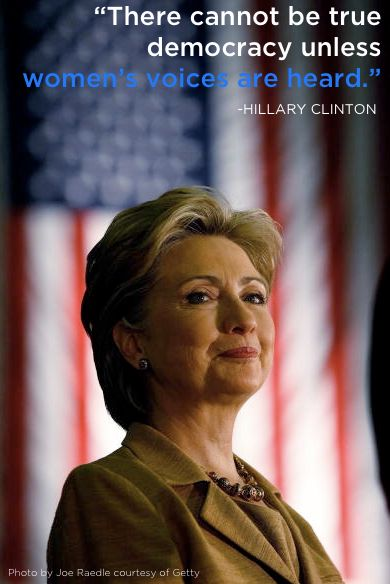Hillary Clinton https://www.hillaryclinton.com/issues/womens-rights-and-opportunity/  Become a champion for women's rights at http://www.fuzeus.com