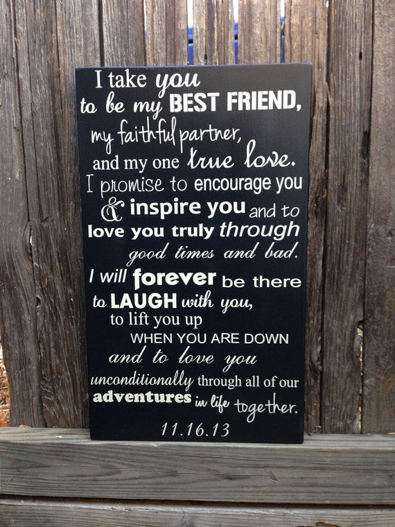Wedding Vows Anniversary Gift Wood Sign 12 X 20 Marriage Custom