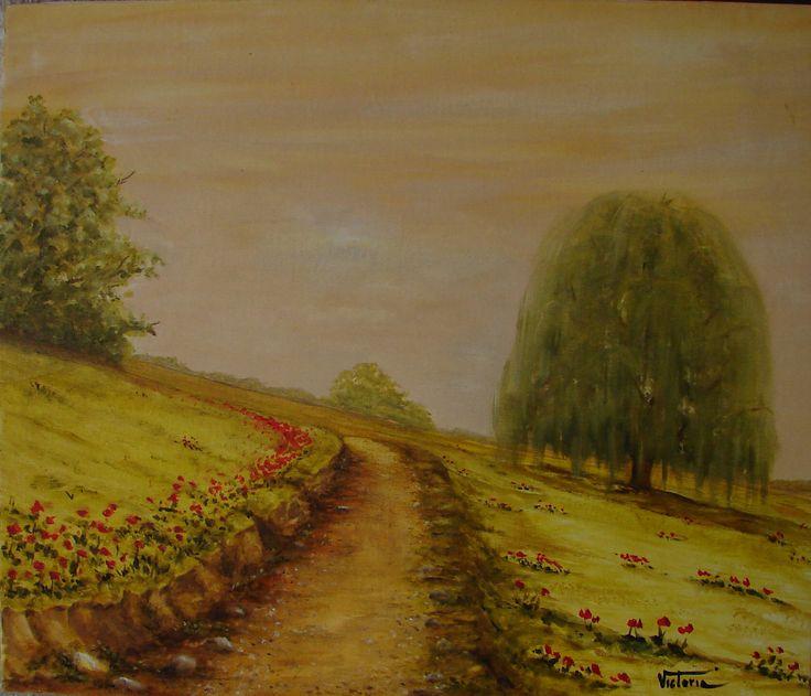Pintura al óleo de un camino entre amapolas a través de la montaña. Paisaje de alta montaña original. Pintura al óleo sobre tela de algodón de LandscapeOfTheSoul en Etsy