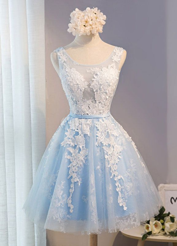 Tulle Homecoming Dress Lace Applique Prom Dress Baby Blue Sash Backless A Line Knee Length Party Dress