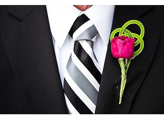 Pink Rose with Green Mizuhiki cord