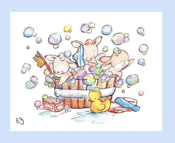Children Art Print. Bunny Bubble Bath. PRINT 8X10. by LoxlyHollow