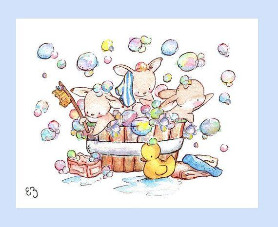 Children Art Print. Bunny Bubble Bath. PRINT 8X10. by LoxlyHollow
