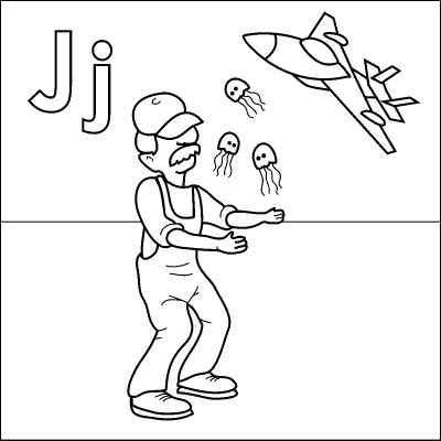 letter j coloring page janitor juggling jellyfish jet color it