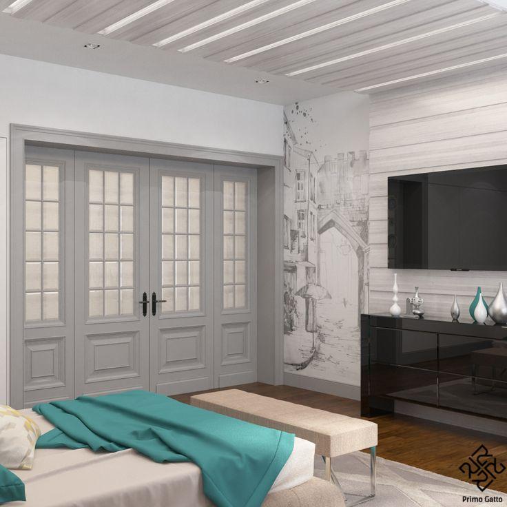 Дизайн-проект комнаты для современной девушки-подростка, живущей в частном доме, мы решили в ненавязчивом современном стиле. Сочетание природной цветовой гаммы и легких геометрических решений создают уютную и умиротворенную атмосферу. Главным выразительным акцентом служит графичная, расписанная вручную стенка со скрытыми дверьми. Также интересна конструкция за изголовьем кровати, проходящая через всю комнату.