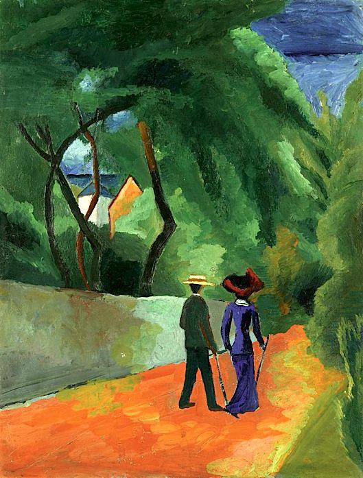 wetreesinart: AUGUST MACKE (Meschede 1887-1914 Perthes-les-Hurlus), Der rote Weg, 1914, huile sur carton, 52x39,5 cm