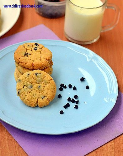 Eggless chocolate chip cookies without brown sugar