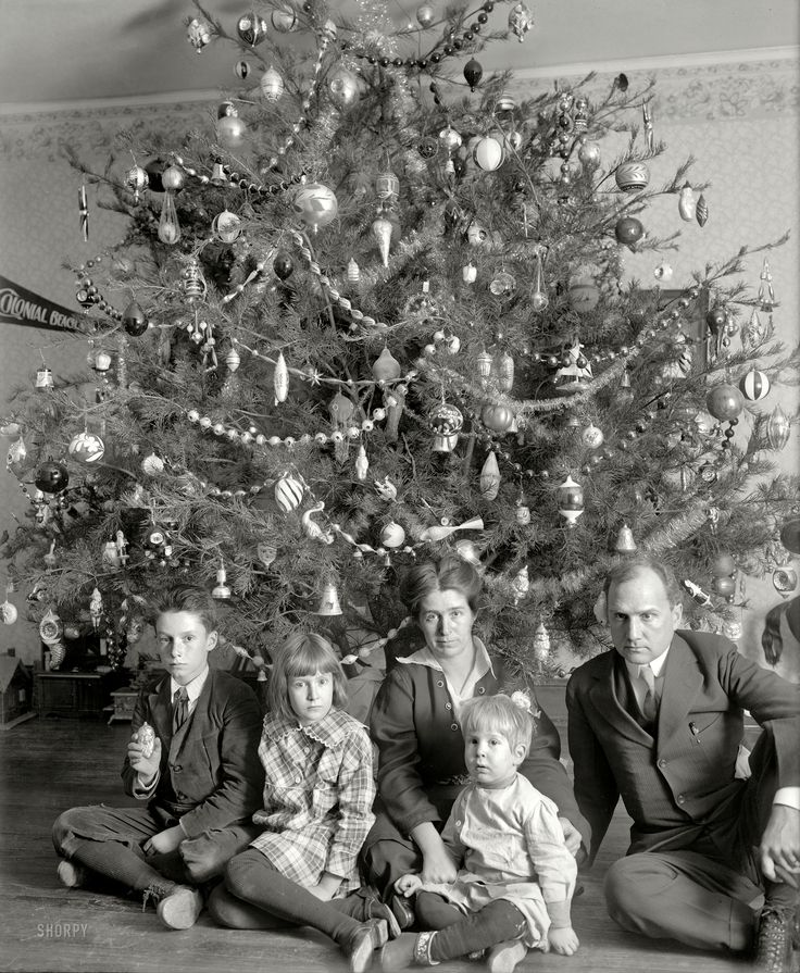 "Modern Family: ""Dickey tree, 1914."" Christmas visit with the family of Washington lawyer Raymond Dickey, whose portraits mix equal parts Chekhov and Addams with a dash of Dickens. National Photo Company glass negative. Click to view full size."