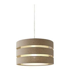 Style Selections 17-in W Khaki Linen Hardwired Standard Pendant Light with Fabric Shade
