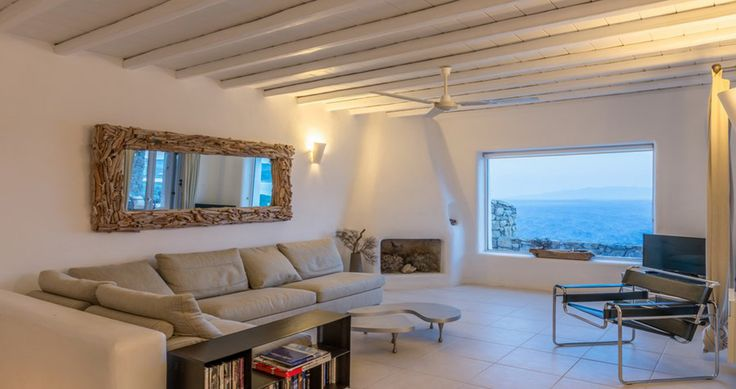 "Relaxing in your living room during your vacation in our ""Villa Aurora"" - Mykonos, Greece. You can rent it ! #luxury #villa #rent #holidays #greece #vacances #grece #alouer #aroomwithaview #decoration #livingroom"