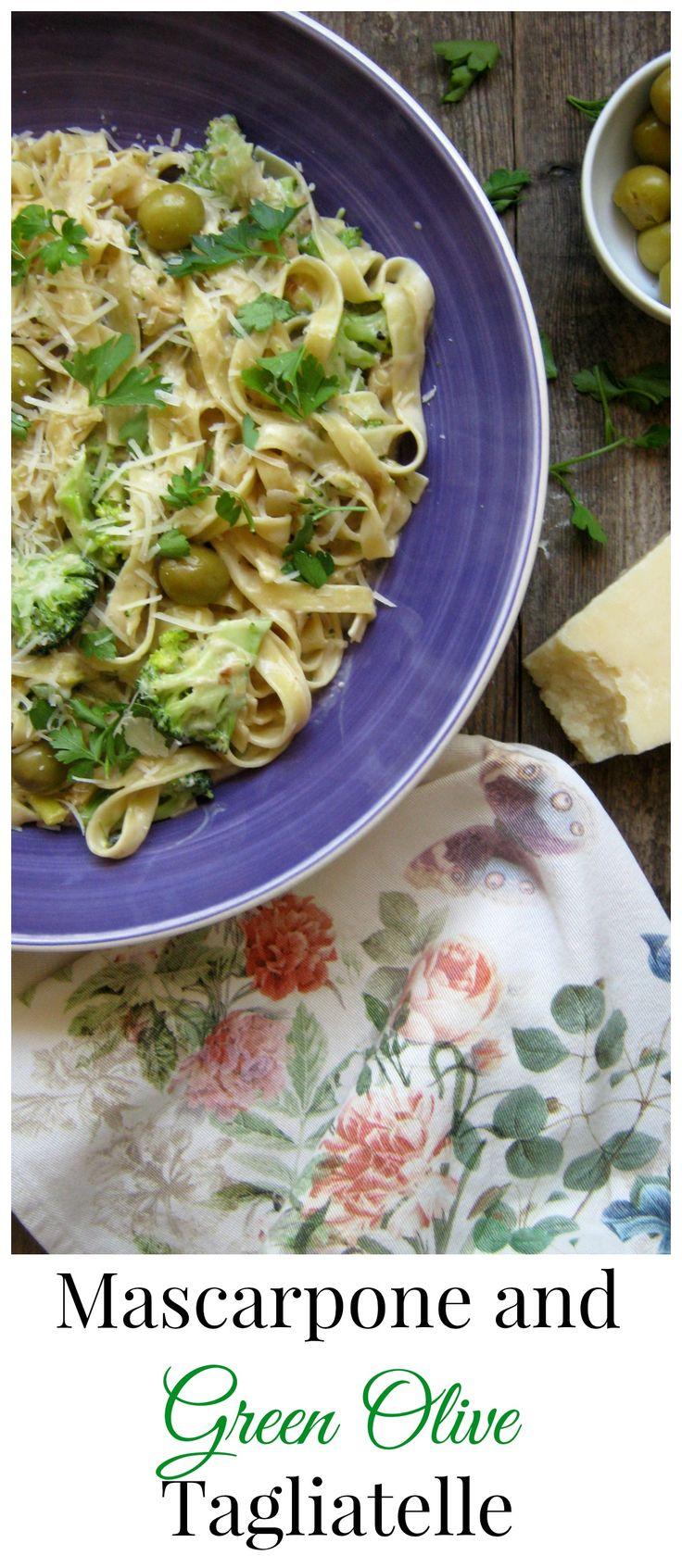 Mascarpone & Green Olive Tagliatelle http://www.juliascuisine.com/home/mascarpone-and-green-olive-tagliatelle
