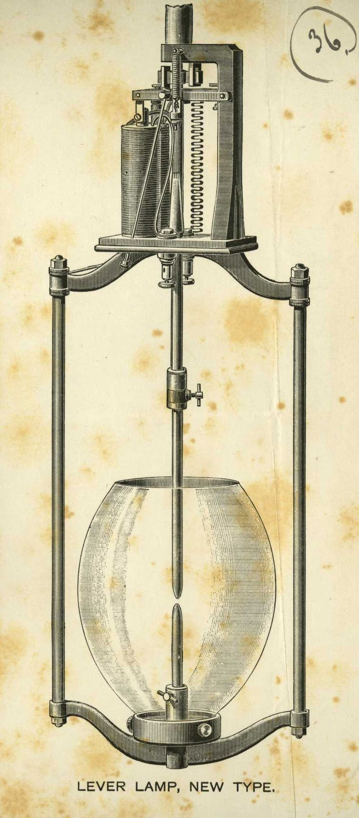 Drawing of a 'Lever Lamp, new type', n.d. c1900. IET Archives ref. SPT/P/I/14/58.