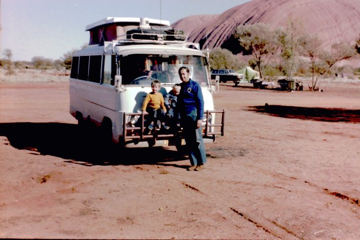 Dad, little brother and me at Uluru in 1978, Toyota Coaster motorhome