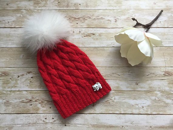 Real fur pompom hat knit winter hat large fox fur pompom