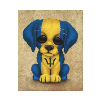 bajan+flag+butterflies | Cute Patriotic Barbados Flag Puppy Dog, Rough Stretched Canvas Print