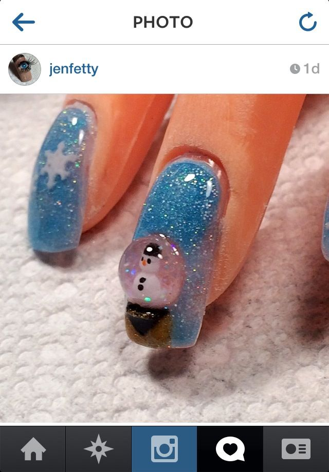 Snow globe nails!! She painted her nails and added a big clear bubble of polish to give it a snow globe effect!