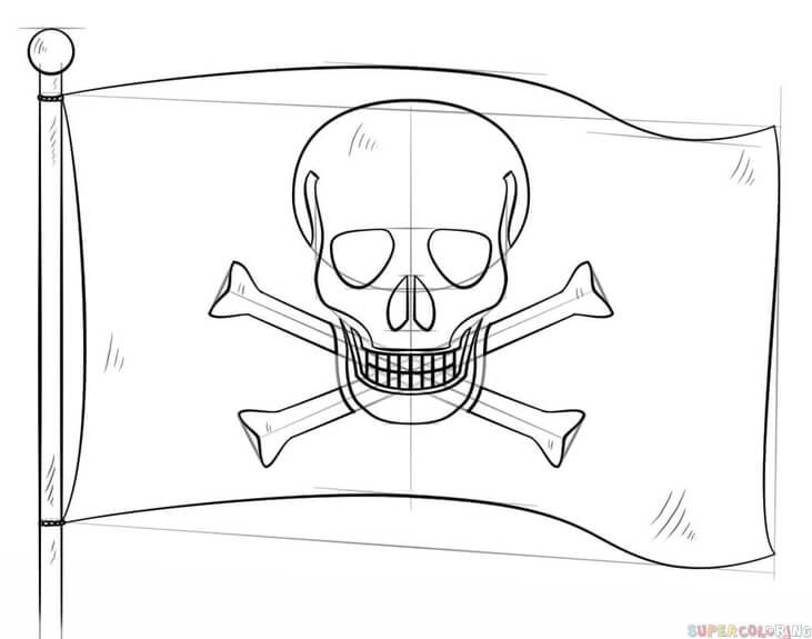 How To Draw A Pirate Flag Step By Step Drawing Tutorials For Kids