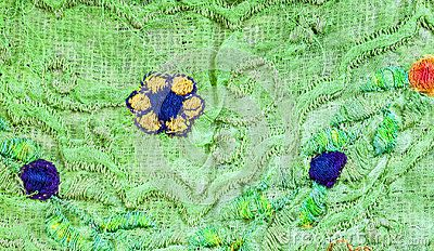 A close up detail of antique embroidered material.