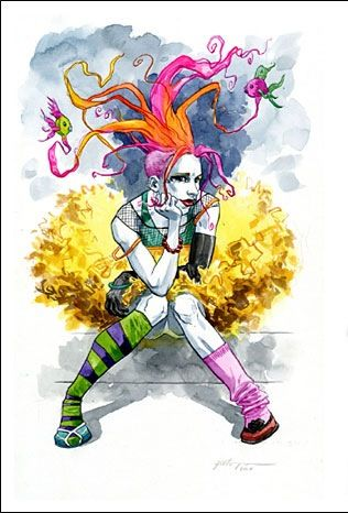 Delirium from the Sandman tattoos. This would make a great pairing with Harley Quinn (Batman), the Joker (Batman), Tank Girl, Dark Phoenix (X-Men), Deadpool (X-Men), the Riddler (Batman), a traditional jester or harlequin.
