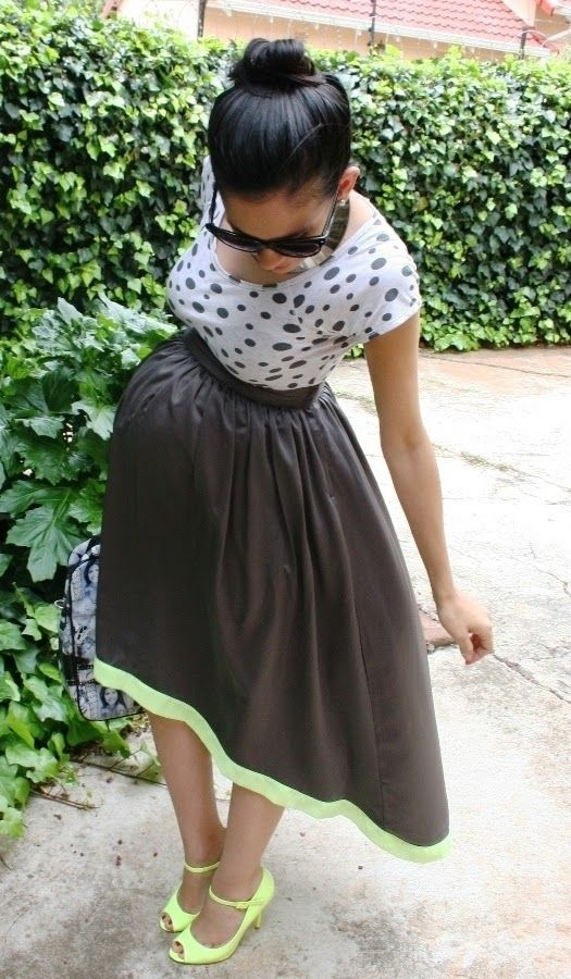 """Maternity Fashion - Full skirt with neutral tee."" Definitely not these colors but the general shape of the items is cute"
