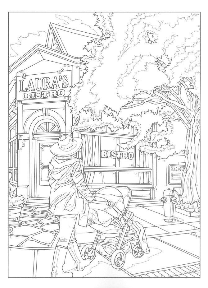 City Sights Color By Number Creative Haven Coloring Books Coloring Pages Coloring Books